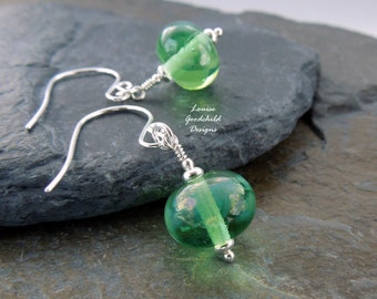 Mystical green earrings, pale green earrings, lampwork earrings, sterling silver, green earrings, Mothers Day