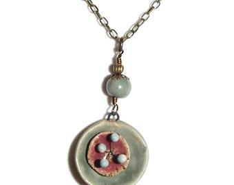 3-D Ceramic Pendant. OOAK Necklace. Ceramic Necklace. Boho