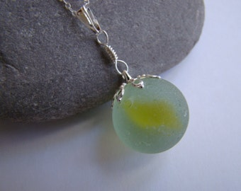 Yellow Sea Glass Marble Necklace - Beach Glass Necklace - Seaglass Pendant - Cat's Eye Marble