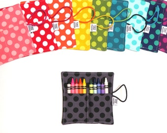 Ta Dot Mini Polka Dot Crayon Roll - Pick Your Color, dot crayon wallets, custom crayon holder, custom kids birthday party, wedding favor