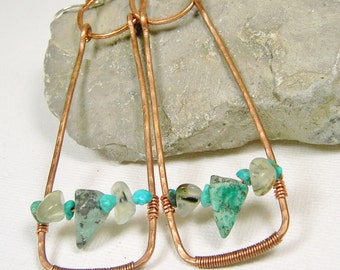 Copper Turquoise Hoop Earrings Gemstone Earrings Sterling Silver Ear Wires