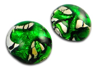 Green Opal Cabochon 18 mm Silver Foil Vintage Glass Stone Cabochon S-394