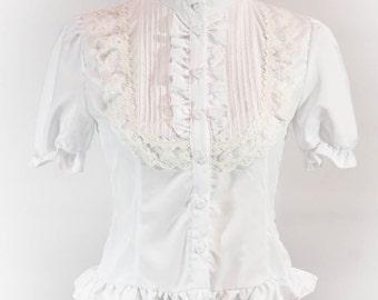 Lolita Fashion - Pintuck Yoke Blouse - Short Sleeves