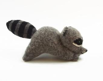 stuffed toy, toy raccoon, eco friendly toy, waldorf toy