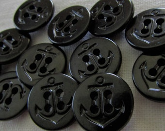 12 Vintage Navy Military Uniform Buttons in Black