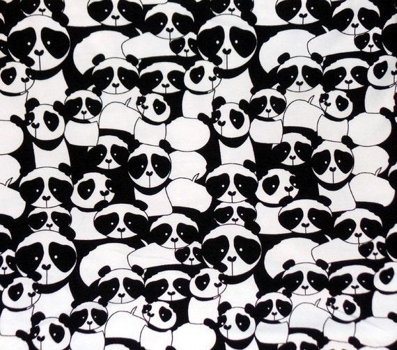 Kids cotton knit fabric panda bears knit print black for Knit fabric childrens prints