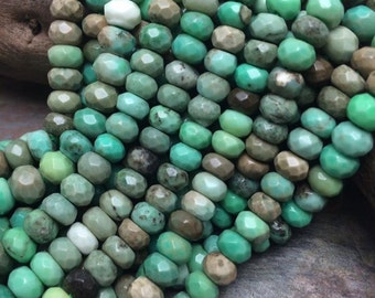 Beautiful Peruvian Opal Faceted Rondell Gemstone Beads, 7x5mm, 8 inch strand