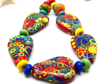 Chilli // 20 lampwork beads // Modern Glass Art // green, orange/red, turquoise, royal blue and yellow