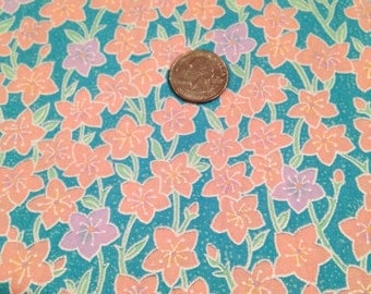 Peach and purple flowers floral fabric