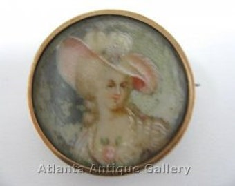 Miniature Hand Painted Gainsborough Lady Brooch Antique Victorian