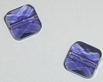 Swarovski crystal beads 8mm and 6mm Crystal passions mini square style 5053 -- Tanzanite blue purple -- 2 pcs per lot