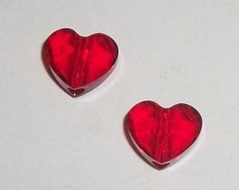 8mm Swarovski crystal HEART faceted love Beads Style 5741 Light Siam red - 2 hearts