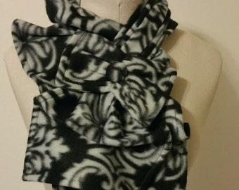 Ruffle Bow Scarf- Fleece - Damask Black and Grey