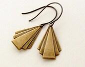 Brass Deco Triangle Earrings Geometric Jewelry Fan Drop Earrings -  Deco Drops