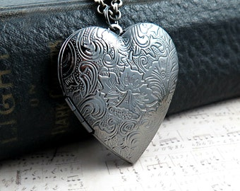 Silver Heart Necklace, Gummetal Heart Locket, Photo Locket, Long Necklace, Anniversary Gift, Wedding Day