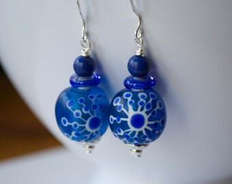 Blue Starburst Earrings, Cobalt Blue Earrings, Lampwork Glass Earrings, Glass Bead Dangle Earrings, Abstract Earrings
