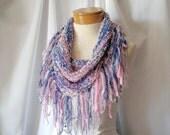 Pink silver blue fringe bib Triangle tie scarf Teen girl Prom Knit fashion scarflette Sapphire cover up Southwestern bandana Spring office