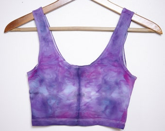 Psychedelic Ice-Dyed Sport Crop Top - Size Small - S
