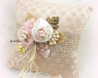 Wedding Ring Pillow, Gold, Champagne, Rose, Blush, Ivory, Lace Ring Pillow, Vintage Wedding, Bridal Pillow, Gatsby Wedding, Elegant, Pearls