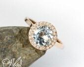 VALENTINES DAY SALE Brilliant Aquamarine Engagement Ring – White Diamond Halo – 14Kt Rose, Yellow, or White Gold