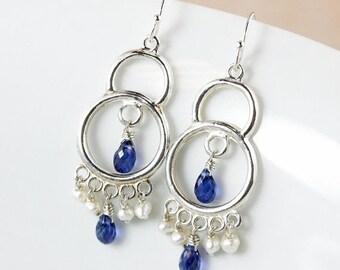 25% OFF Blue Kyanite Chandelier Earrings – Freshwater Pearls – 925 Sterling Silver