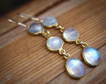 25% OFF Gold Rainbow Moonstone Dangle Earrings - Gemstone Earrings - June Birthstone