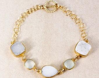 20% OFF Aqua Chalcedony Bracelet – White/Soft Grey Druzy – 14K Gold Filled