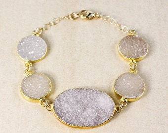 50 OFF SALE Lilac Natural Agate Druzy Bracelet – Choose Your Druzy and Setting