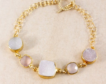 Pink Chalcedony Bracelet – Druzy – Choose Your Gemstones