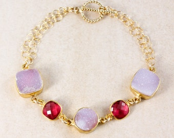 50% OFF SALE - Pink Druzy and Ruby Quartz Bracelet – 14K Gold Filled