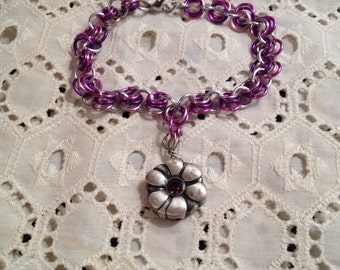 Pretty Pink and Silver colored Chainmail Bracelet with Flower Charm~Free Shipping