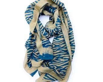Indigo Scarf Women's SAMPLE SALE scarves blue silk blend Indigo scarf Hand Printed wrap natural dyes Scarf - women accessory - Indigo Waves