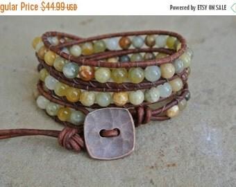 Summer Sale Juniper Jasper Beaded Leather Wrap Bracelet