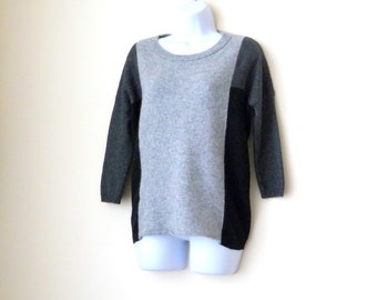 Sweater - Jumper - Pullover - Cashmere - Color Block - Black - Charcoal - Gray - Soft - Fuzzy - Three Quarter Sleeve - Ragland - Size Medium