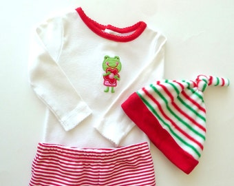 Christmas Baby Outfit - Newborn - 3 - 6 months - Cotton Onesie - Cotton Red White Stripe Pants - Fleece Elf Hat - Smiling Green Frog -