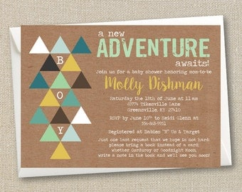 Boy Baby Shower Invitation - An Adventure Awaits- Digital Printable File - Tribal Southwest