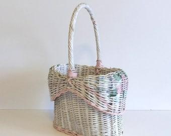 ON SALE Vintage Basket Willow Basket pastel picnic basket lunch basket white with flowers cottage charm Wedding Shower Basket Spring Flower