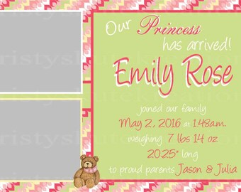 "Baby Girl ""Bear"" Announcement"