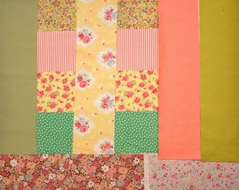 """40 Charm Pack Pre-Cut Square 5x5"""" Square Patch Work Retro Floral Pastel Yellow Green and Pink Tone"""