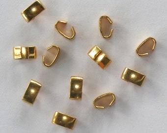 Vintage Raw Brass Fold Over 12 Connectors 7x3.5mm