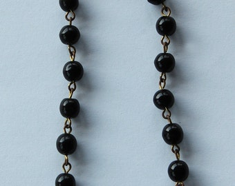 Vintage Glass Beaded Chain Length Black Made in Japan