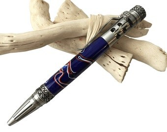 Gearshift Twist Pen / Pewter / Patriotic Red White Blue Acrylic Handcrafted by CraftCrazy4U on Etsy