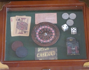 Las Vegas Casino Wood Shadow Box Top- Open To Find- 2 Decks of Cards, Chips and Dice