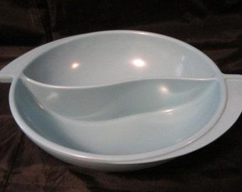 Vintage Boonton NJ Melmac Aqua Blue Divided Serving Bowl  Like NEW