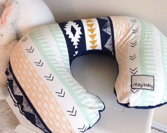 Arid Horizon Nursing Pillow Cover, Aztec Nursing Pillow Cover, Fancy Nursing Pillow Covers, Mint and Navy Nursing Pillow Cover