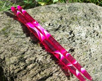 Fuschia water color acrylic Hair sticks.