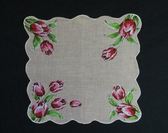spring tulip hanky vintage floral handkerchief 50s red tulip floral hem scallop edge pocket square