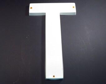 Letter T White Plastic 24 Inch Vintage Industrial Salvage Sign Upper Case Letter
