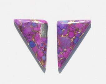 Kingman Purple Turquoise Infused with Bronze Cabochon Pair