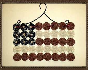 Country Red White & Blue Calicos, Americana Patriotic Flag, Yo Yo Wall Hanging With Black Iron Hanger